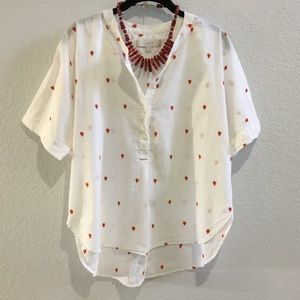 LOFT red rooster embroidered blouse